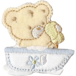 Iron-on Embroidery Sticker - Washing Teddy Bear  -  Light Blue