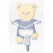 Iron-on Patch - Teddy Bear with Bicycle - Light Blue
