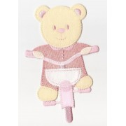 Iron-on Patch - Teddy Bear with Bicycle - Pink