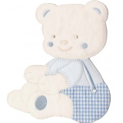 Iron-on Embroidery Sticker - Light Blue Teddy Bear