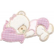 Iron-on Patch - Dreaming Teddy Bear  -  Pink