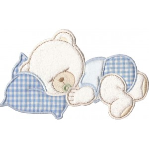 Iron-on Patch Dreaming Teddy Bear  -  Light Blue