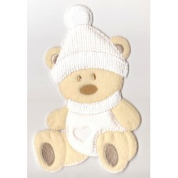 Iron-on Patch - Teddy Bear with Hat - Cream