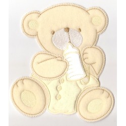 Teddy Bear with Bib Iron-on Patch - Yellow