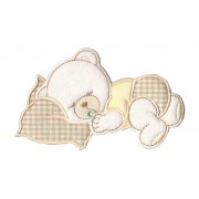 Iron-on Patch - Dreaming Teddy Bear  - Cream