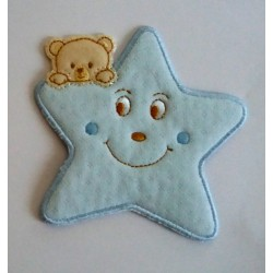 Iron-on Patch - Light Blue Star with Teddy Bear
