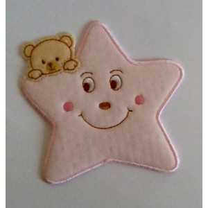 Iron-on Patch - Pink Star with Teddy Bear