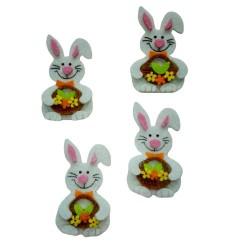 Decorazioni in Feltro - Conigli con Cesto di Fiori