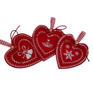 Decoraciones Navideñas de Feltro - Corazones Noruegos