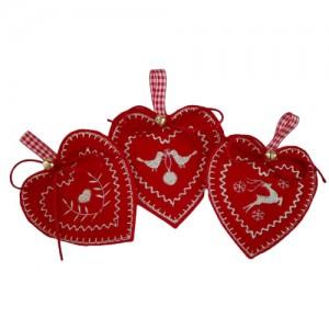 Decoraciones Navideñas de Feltro - Corazones Estilo Noruegos