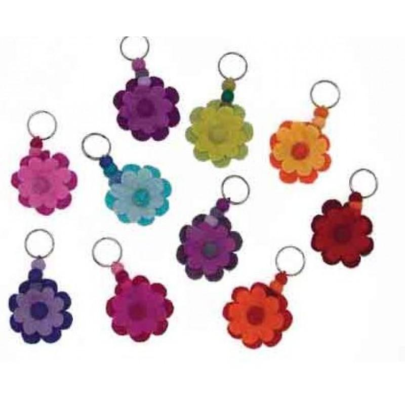 a forma di fiori da donna cerniera Portachiavi Aileder in pelle con 8 ganci per carte di credito dipinti a mano