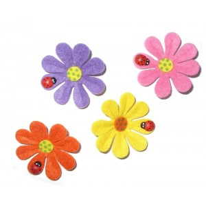 Felt Decoration - Colored Flowers with Ladybug