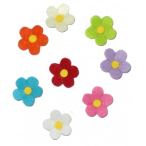 Felt Decoration - Colored Flowers 3 cm
