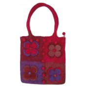 Natural Felt Bag - Red and Burgundy