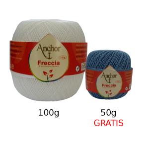 Anchor Freccia Crochet Thread n. 16 - Blanco 100g plus Free Colored 50g Ball