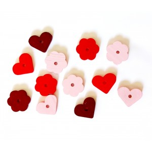 Wood Beads -  Hearts and Flowers