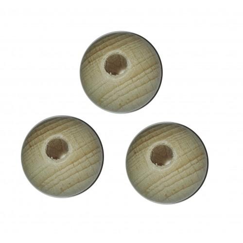 Perle di Legno Naturale con Foro - 25 mm