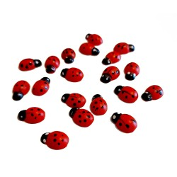 Wooden Ladybugs with Adhesive - Size 11 mm