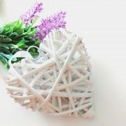 Cuore in Rattan Bianco - 15 cm