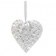 White Wicker Hearts - Size 15 cm