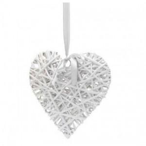 Corazón Ratán Blanco - 15 cm