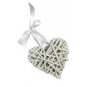 White Wicker Hearts - Size 8 cm
