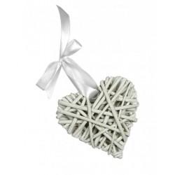 White Wicker Hearts - Size 8 cm
