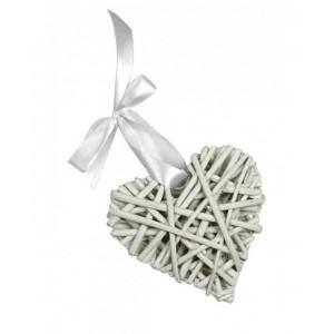Corazón Ratán Blanco - 8 cm