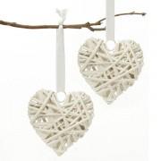 White Wicker Hearts - Size 7 cm