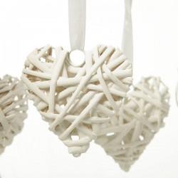 White Wicker Hearts - Size 5 cm