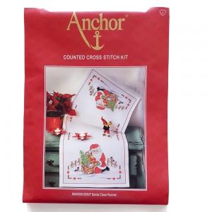 Anchor - Santa Claus - Runner Natalizio Babbo Natale da Ricamare a Punto Croce