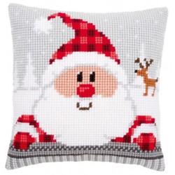 Kit Cuscino Punto Croce - Babbo Natale con Cappello