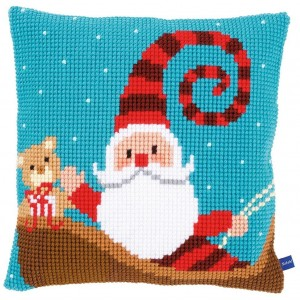 Cross Stitch Pillow Kit - Santa Claus with Sled