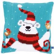 Cross Stitch Pillow Kit - Happy Christmas Bear