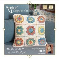 Anchor Organic Cotton  - Kit Cojin a Crochet Granny Square de Color Beige