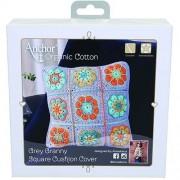 Anchor Organic Cotton  - Kit Cojin a Crochet Granny Square de Color Azul