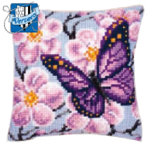 Vervaco -Flowers and Butterfly Cross Stitch Cushion