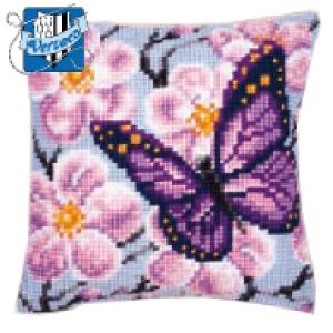 Vervaco - Kit Punto de Cruz - Almohada Flores y Mariposa