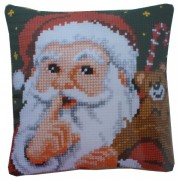 Vervaco - Cross Stitch Pillow Kit - Hush! Santa Claus