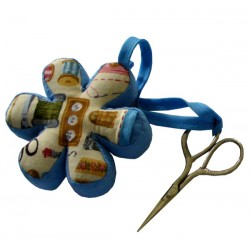 Flower Pincushion with Embroidery Scissors - Blue