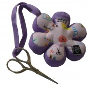 Flower Pincushion with Embroidery Scissors - Lilac