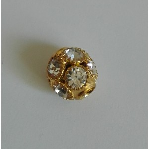 Perla Strass con Foro Largo da 10 mm - Colore Oro