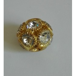 Perla Strass con Foro Largo da 14 mm - Colore Oro