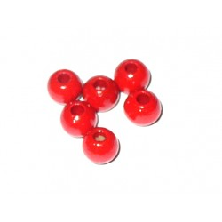 Red Wood Beads - Size 4 mm
