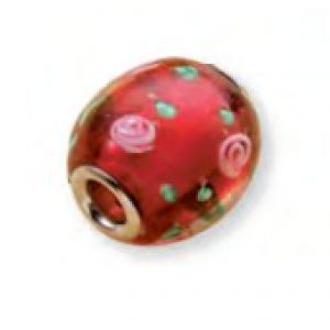Glass Bead with Large Hole - Roses