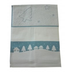 Fratelli Graziano - Terry Christmas Dish Towel - Frost - Light Blue
