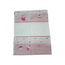Fratelli Graziano - Terry Christmas Dish Towel - Cake - Color Pink