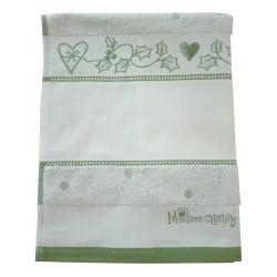 Fratelli Graziano - Terry Christmas Dish Towel - Mom and Dad - Green