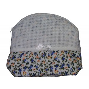 Large Necessaire Bag to Cross Stitch - Yellow and Blue Flowers
