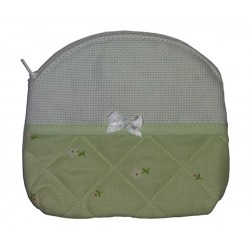 Large Necessaire Bag to Cross Stitch - Light Green - Daisies